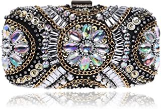 Brief Women's Beaded Embroidery Party Clutch bags Crystal Rhinestone Dress Evening Bag Bridal Chain Shoulder Crossbody Bag Black/Clear/Pink Handy (Color : Clear)