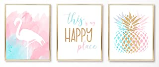 Teen Girl Room Wall Decor Art Prints- (UNFRAMED 8 x 10) - Inspirational Wall Art, Motivational Quotes Posters for Kids, Tween Women Office Bedroom, Dorm, Cubicle, Desk - Pineapple, Flamingo