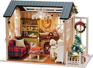 KKmoon DIY Kit de casa de bonecas em miniatura de Natal Mini realista 3D Casa de madeira artesanato com mobília Luzes LED ...