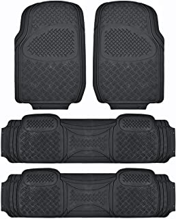BDK Heavy Duty VAN SUV Rubber Floor Mats - 4 Pieces 3 Rows Full Set - All Weather Trimmable Mat (Black) - MT-713-711-BK