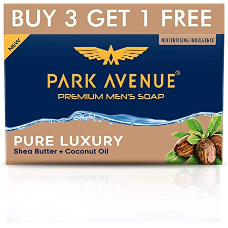 Park Avenue Premium Men's Soap, Shea Butter+ Coconut Oil, 125g (BUY 3 GET 1)