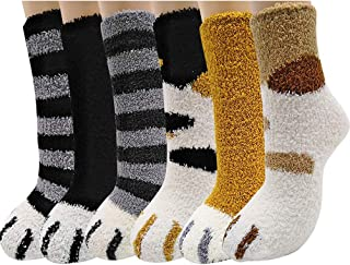 6 pares de calcetines unisex con garras de gato, suaves, mullidos, acogedores calcetines de felpa, cálidos para dormir en invierno para mujeres