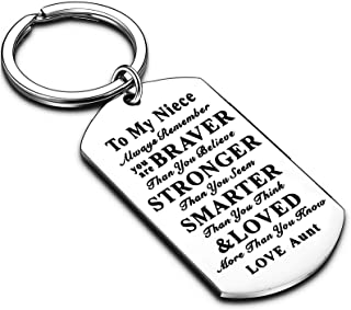 Niece Gifts Nephew Gifts Inspirational Gift Jewelry Dog Tag Keychain You are Braver Encouragement Gifts from Aunt Uncle (A...