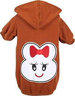 Dough Couture Winter Cotton Printed Hoodie T-Shirts for Dogs - Brown- 20 inches