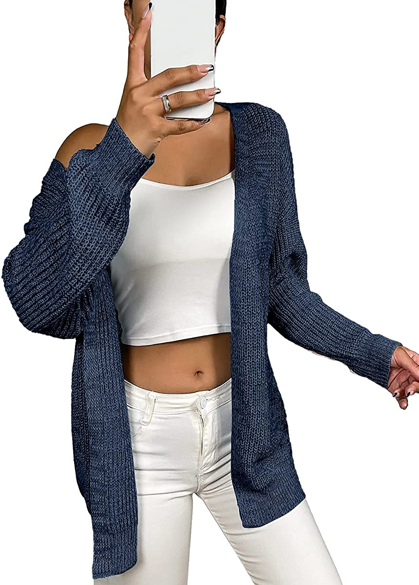 Dyexces Women's Open Front Long Sleeve Knit Chunky Cardigan Sweater Navy