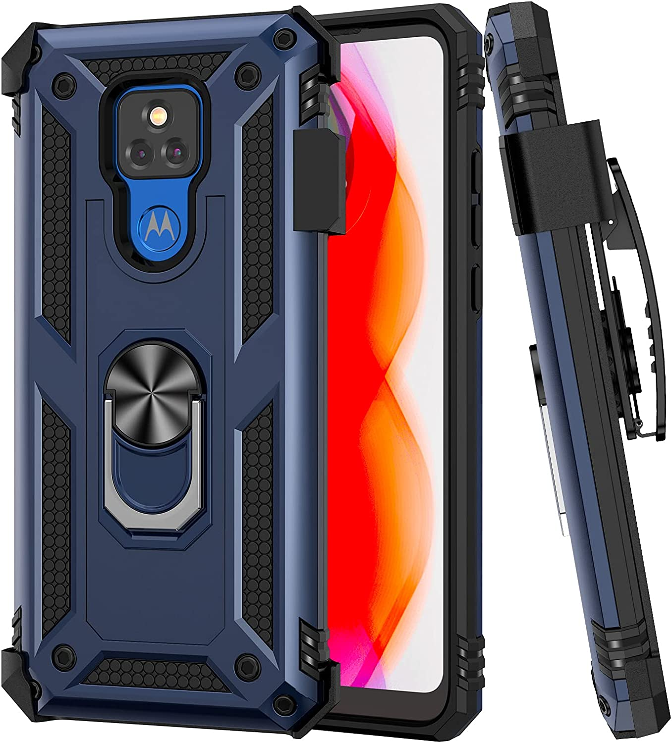 Ruky Moto G Play 2021 Case, Moto G Play 2021 Case with Belt Clip Holder, Military Grade 360° Ring Holder Kickstand with Magnetic Shockproof Anti Scratch Phone Case for Moto G Play 2021, Blue