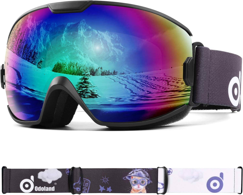 Odoland Gafas de Esquí para Niños de 8-16 años, Gafas de Snowboard Compatibles con Casco para Niños y Niñas con Protección UV400 y Antiniebla, Lente de Doble Capa y Diseño OTG