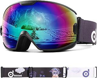Odoland skidglasögon, snowboardglasögon för ungdomar 8–16 år – UV400 skydd och antibeslag – dubbel grå sfärisk lins i soli...