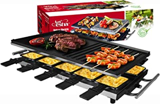 Artestia 10 Person Large Stainless Steel Electric Raclette with Full Size Non-Stick Aluminum Reversible Grill Plate, High Power 1500W (Full Size Aluminum Plate Stainless Steel Raclette for 10 persons)