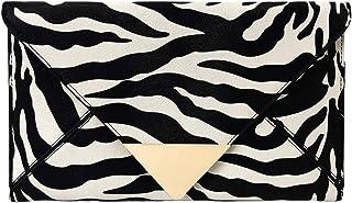 JNB Synthetic Leather Zebra Print Envelope Clutch