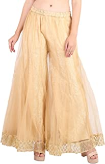 Women's Palazzo Pants Georgette Heavy Work Wide Leg High Waist Sharara