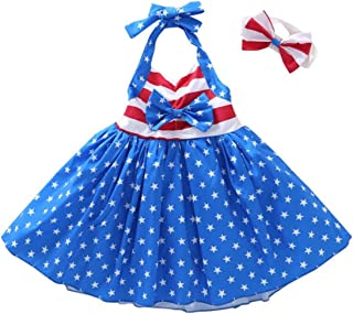 UNIQUEONE Toddler Girls American Flag 4th of July Dress Star Stripe Halter Backless Dress