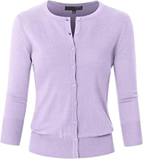 Women's 3/4 Sleeve Crew Neck Button Down Stretch Knit Cardigan Sweater (S-3XL)