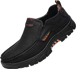 Heren Wandelschoenen Slip-On Leather Sneakers Low Rise Anti-Slip Casual Outdoor Walking Instappers,Black,43EU