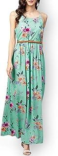 Zima Leto - Maxi abito da donna con motivo floreale, colore: Verde