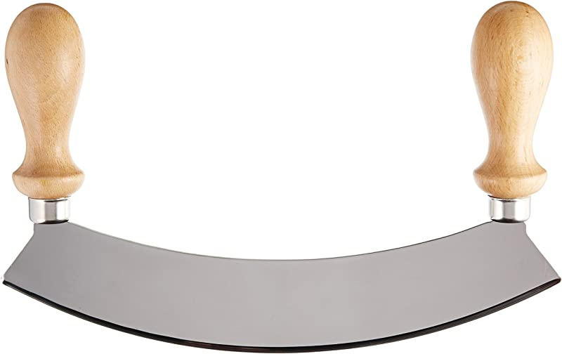 Stainless Steel Rocking Mezzaluna Knife With Wood Handles 10 Inch