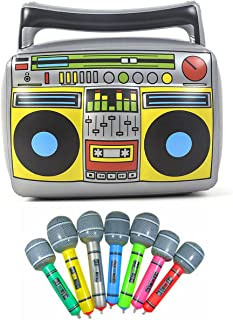 """Party Inflatable Boom Box 16""""PVC Radio + 2 Microphones for Party Decorations 80s 90s inflatable props"""