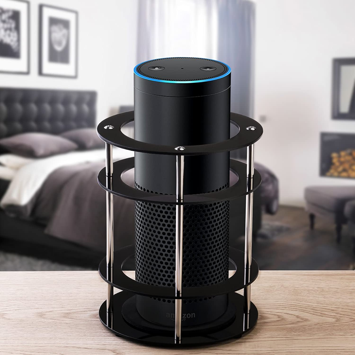 Stand for Amazon Echo, Foxnovo Acrylic Speaker Guard - Predect and Stabilize Your Alexa Speaker