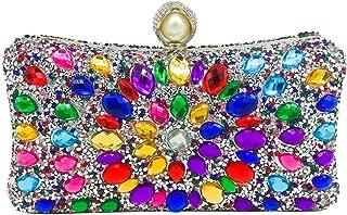 MultiColored Pearl Clasp Women Crystal Purse Evening Handbags Wedding Clutch Bag