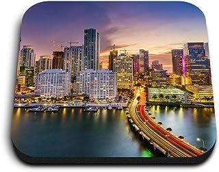Aimants carrés en MDF Destination Vinyl ltd - Biscayne Bay Miami Florida Skyline pour bureau, armoire et tableau blanc - A...