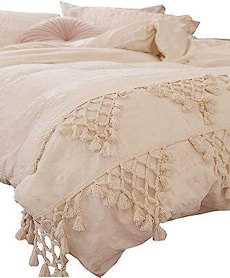 Flber Tufted Tassel Duvet Cover Lattice Boho Bedding,Full Queen, 86inx90in
