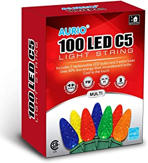 Aurio 24.8ft 100-Count C5 LED Christmas Lights Indoor/Outdoor Connectable String Set for Holiday Decoration, Xmas Tree, Bedroom, Wedding, 100-Lights, Multi-Color
