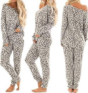 Pijamas de Algodón para Mujer - Moda Conjunto de Ropa de Dormir Invierno con Estampado de Leopardo, Chicas 2 Piezas Conjuntos Deportivos Pantalón Camisa de Mangas Largas Cuello en Redondo