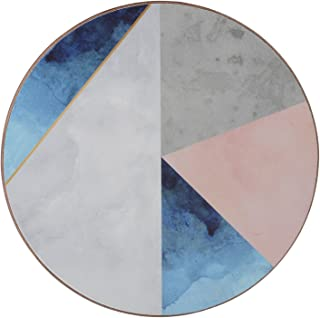 Creative Tops 'Geometric Palette' Printed Round Cork-Backed Drinks Coasters, 12 cm - Blue / Grey (Set of 4)