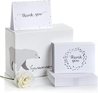 Thank You Cards–2 Designs of Blank Thank You Notes and Self-Seal Envelopes–Stationary Set to Give Thanks for Wedding, Bridal Shower, Professional, Any Occasion by Alice & Ben (Black, 100-Pack)