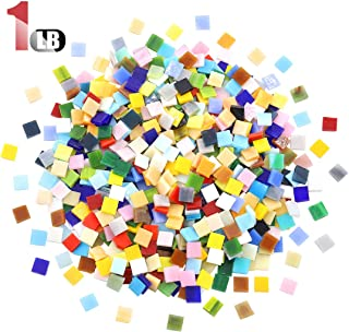 Hilitchi 1lb Various Color Various Shape Glass Mosaic Tiles Mosaic Pieces Chips Stained Glass Mosaic Supplies for DIY Crafts, Plates, Picture Frames, Flowerpots, Handmade Jewelry (Square)