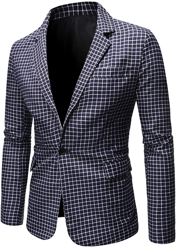 YFFUSHI Mens 1 Button Plaid Blazer Jacket Slim Fit Casual Checked Lightweight Daily Sport Coat