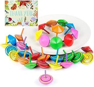 comprar comparacion Comius Juego de peonzas, Lote de 30 Peonzas de Madera de Colores - Regalos y Detalles para Comuniones, Niños, Niñas, Fiest...