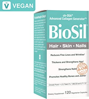 BioSil by Natural Factors, Hair, Skin, Nails, Supports Healthy Growth and Strength, Vegan Collagen, Elastin and Keratin Generator, 120 capsules (120 servings) (FFP)