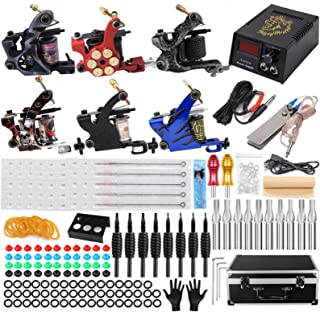 Complete tattoo-kit 6-spoel tattoo-machineset Roterende machine Tattoo-voedingsnaalden Professionele tattoo-machinekit voo...
