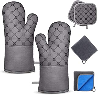 TAOSANHU Oven Mitts and Pot Holders Sets, Heat Resistant 500 Degrees Kitchen Gloves with 2 PCS Kitchen Towels & 2 PCS Hot Pot Holders, Non-Slip Surface & Cotton Lining for Cooking, BBQ, Baking - Gray