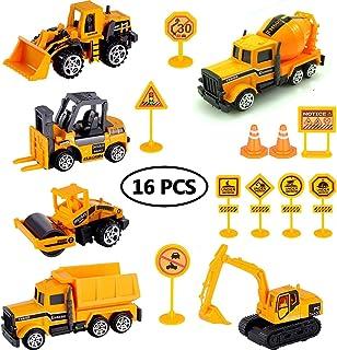 StillCool 16pièces Ensemble de Véhicules de Construction, Camions D'excavatrice Voitures mMiniatures Modèles de Voitures J...