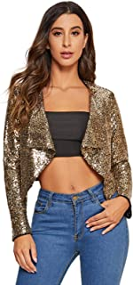 Milumia Women's Fashion Waterfall Sequin Collar Open Front Party Cropped Jacket Outwear