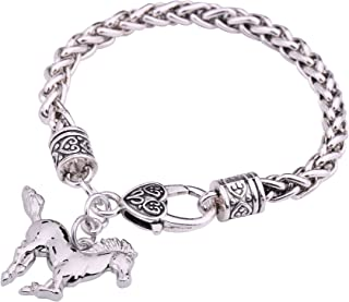 Silver Tone Horse Wheat Chain Bracelet Gift for Cowgirl and Horse Lovers