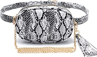 Small PU Leather Elegant Fanny Pack Belt Bag Purse Snakeskin pattern for Women Travel (white)