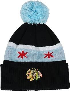 Reebok Chicago Blackhawks Youth Chicago Flag Cuffed Knit Pom Hat NHL Official