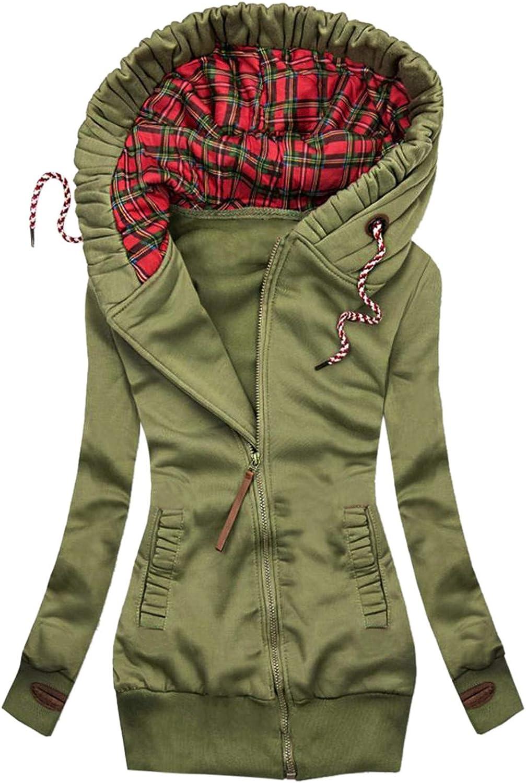 Hemlock Women Fashion Plaid Print Jacket Zipper Pocket Hooded Sweatshirt Tunic Long Sleeve Coat Hooded Jacket Outwear