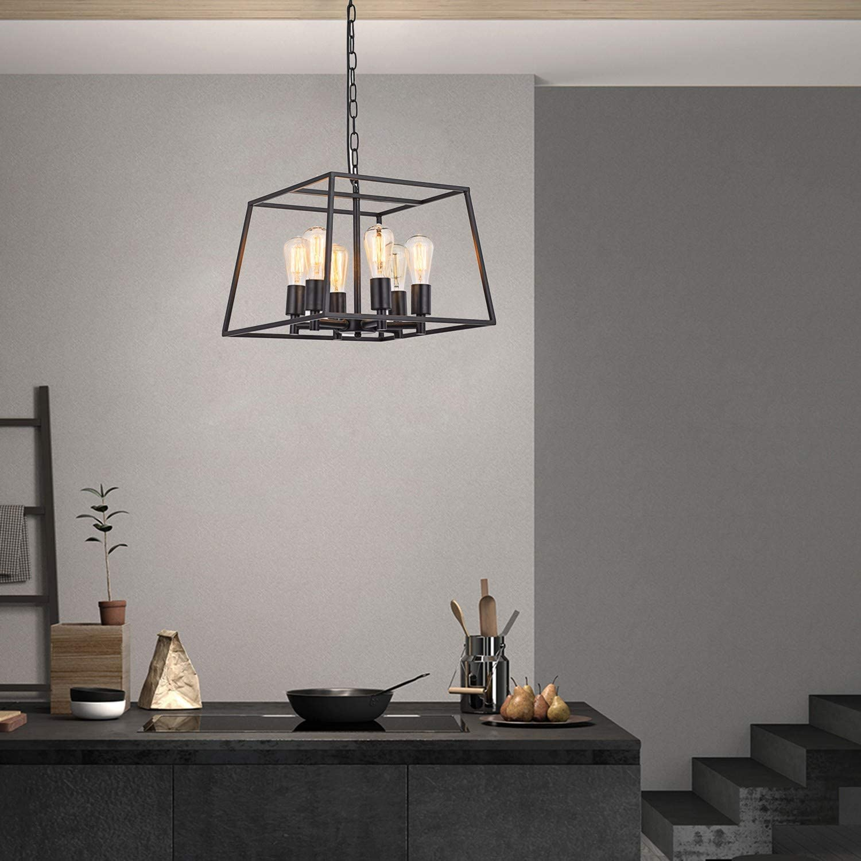 HOXIYA 9 Light Pendant Light Black Metal Candle Style Hanging ...