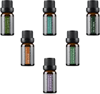 Top 6 Aromatherapy Oils 100% Pure Basic Essential Aromatherapy Oils Gift Set (Top 6, 10ml) - No fillers and additives Essential Oils