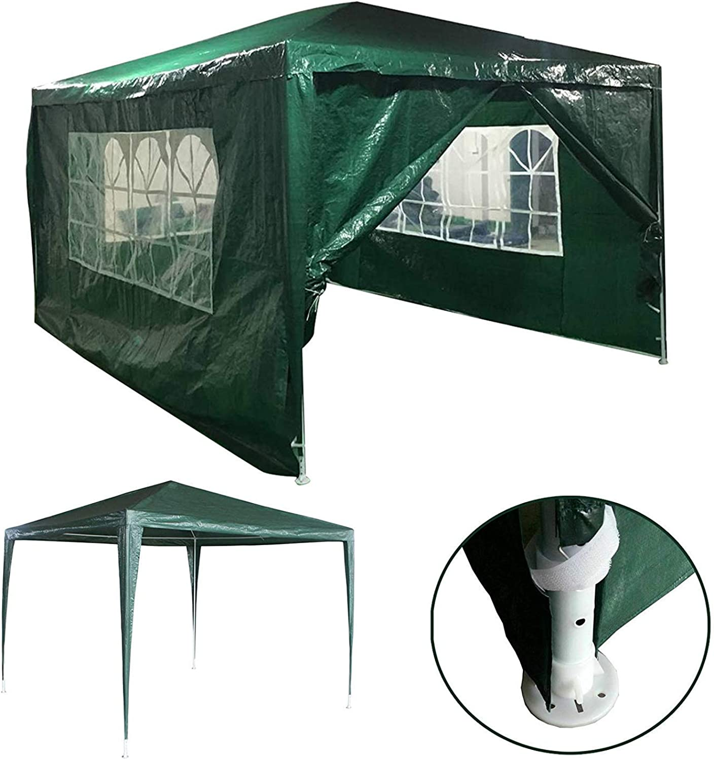Green Gazebo  3X4M with Sides Panels Removable Steel Frame Polyethylene Cover Shelter UV Predection Waterproof Party Tent