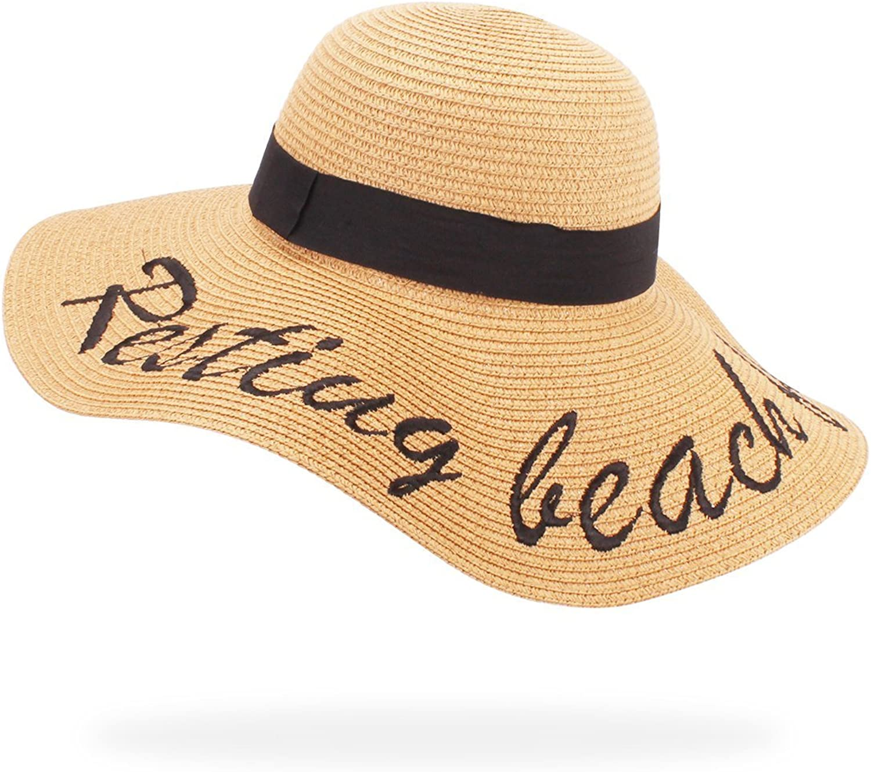Belababy Women's Floppy Big Brim Sun Hat for Fall Foldable Beach Elegant Cursive Embroidered Straw Hat