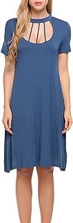 ACEVOG Women's Spaghetti Cold Shoulder Tunic Top T-Shirt Swing Dress