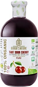 Georgia's Natural Organic Cold Pressed Tart Cherry 100% Pure Juice, Never From Concentrate, No Added Sugar or Water, NON GMO, 33.81 oz.