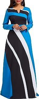 VERWIN Striped Long Sleeve Women's Maxi Dress Women's Dresses A-Line Pullover Party Dress