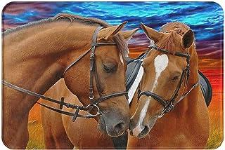 Horses Print Cool Welcome Doormat Decorative Bedroom Kitchen Living Room Friendly Animals Mats Non-Slip Water-Absorbing Fl...
