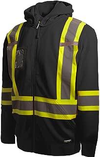 Terra 11-6506-BKXL High-Visibility Detachable Hood Reflective Safety Hoodie, Black, X-Large